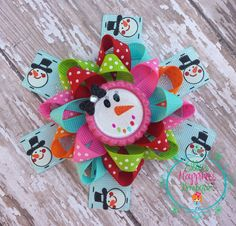 Christmas Happy Snowman  Loopy flower by ElliesHappinessBows