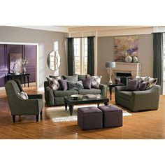 Upstairs with light gray walls. Living Room Furniture - Ritz 3 Pc. Living Room