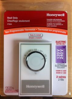 Honeywell CT60A MANUAL THERMOSTAT ELECTRIC BASEBOARD FAN-FORCED HEATER HEAT ONLY