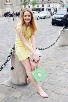 pastel yellow tweed dress
