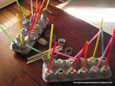 Egg cartons, toilet paper rolls or paper towel rolls cut into short segments, straws and chopsticks for an easy independent activity.  Show rather than instruct and see if the student will take off on his own.