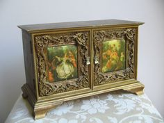 Vintage Ornate Gold Wood Jewelry Music Box by vintagenowandthen, $78.00