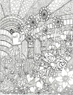 Late Summer Garden, coloring page, ink illustration, Life in Line Art - $2.50 @ Etsy