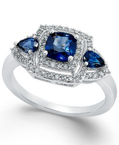 Sapphire (9/10 ct. t.w.) and Diamond (1/3 ct. t.w.) Ring in 14k White Gold