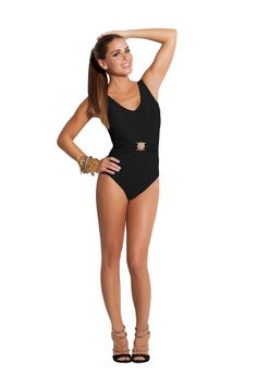 Amazing Waist Band One- piece . At the waist: glimmering gold plated lion hardware.