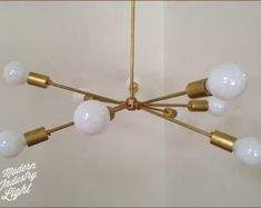 Modern brass Trio chandelier 3 Bulb by ModernIndustryLight
