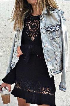 Litl blak dress with rugged denim jacket. Rockstar chik.