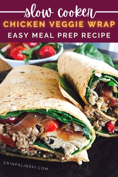 This healthy chicken wrap recipe is packed with 33 grams of protein and only 7 net carbs! A great meal prep idea that is also full of fiber!