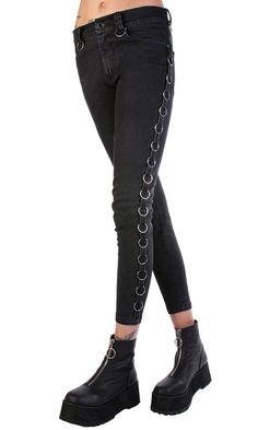 Joan Ring Jeans #disturbiaclothing disturbia metal ring hardware skinny denim alien goth occult grunge alternative punk