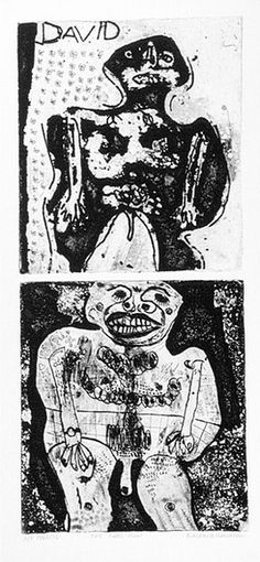Artist: HANRAHAN, Barbara   Title: Two little men   Date: 1964   Technique: etching and aquatint, printed in black ink, with plate-tone, from two copper plates