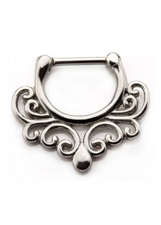 The 16 gauge wavy septum clicker is made entirely from stainless steel. The interior diameter is measured inside the clicker from top to bottom. Septum Clicker, Daith Piercing, Piercings, Black Hole Sun, Titanium Jewelry, 316l Stainless Steel, Gothic Jewelry, Filigree, Women's Accessories