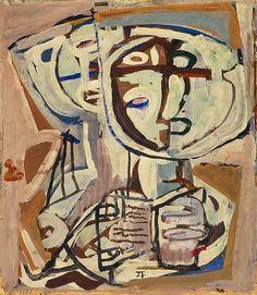 'Two figures' (c.1955) by Scottish-born Australian artist Ian Fairweather (1891-1974). Gouache on paperboard on hardboard, 54.5 x 47.3 cm. via Art Gallery NSW