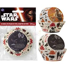 AU Site Pack of 50 Star Wars The Force Awakens baking cups/patty pans.Showcase your cupcakes in our super cool Star Wars The Force Awakens baking cups!Cups measure approx 7cm at top and 5cm at base.Pack contains a mix of two designs - one design features BB-8 with R2-D2 and C-3PO and the other design features droid ships. Perfect for a Star Wars themed party, use these cups for chocolate/honey crackles, small cakes,