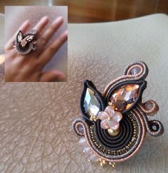 Photo from serenadimercionejewelry Soutache Bracelet, Soutache Jewelry, Boho Jewelry, Bridal Jewelry, Jewelery, Handmade Jewelry, Shibori, Beaded Rings, Beaded Necklace
