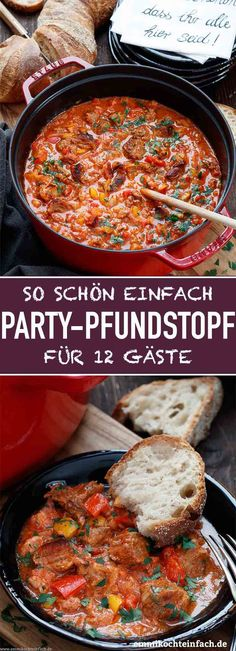 Party pound pot for twelve - a simple party meal - Party Pfundstopf für zwölf – ein einfaches Partyessen Party pound pot for twelve Pizza Recipes, Soup Recipes, Chicken Recipes, Dinner Recipes, Easy Party Food, Party Snacks, Breakfast Party, Law Carb, Fiestas Party