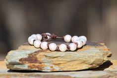 Pearls on Leather Cord Bracelet Boho Beach by HappyGoLuckyJewels, $52.00