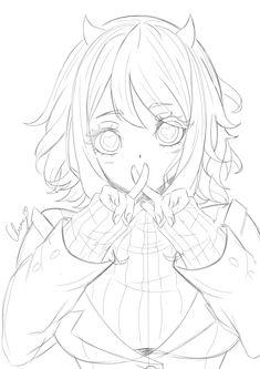 Manga Kawaii, Kawaii Anime Girl, Anime Art Girl, Manga Drawing Tutorials, Art Drawings Sketches Simple, Cute Drawings, Lineart Anime, Anime Character Drawing, Anime Poses Reference