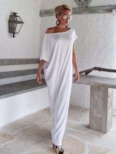White Maxi Dress / White Kaftan / Asymmetric Plus Size Dress / Oversize Loose Dress / #35022 by SynthiaCouture on Etsy https://www.etsy.com/listing/268278628/white-maxi-dress-white-kaftan-asymmetric