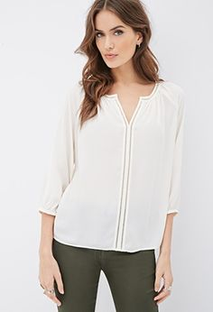 Contemporary Contrast-Trimmed Peasant Blouse | Forever 21 - 2000082763