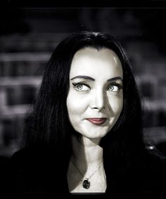 "Carolyn Jones as ""Morticia Addams"" The Addams Family Cast, Adams Family, Dark Beauty, Gothic Beauty, Los Addams, Ted Cassidy, Long Straight Black Hair, Charles Addams, Victoria Principal"