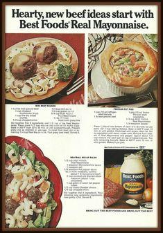 Retro Recipes, Old Recipes, Vintage Recipes, Beef Recipes, Healthy Recipes, Ethnic Recipes, Punch Recipes, Easy Recipes, Cooking Recipes