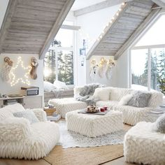 It's a winter wonderland with our Riley Lounge Collection! We don't know about you but we could lounge in this room all day looonnnngggg ❄️ Romantic Living Room, Simple Living Room Decor, Teen Lounge Rooms, Teen Hangout Room, 3 Piece Sectional Sofa, Small Sectional, Creation Deco, Attic Renovation, Attic Remodel