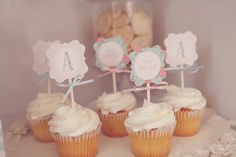 Shabby Chic Baby Shower Cupcake Toppers