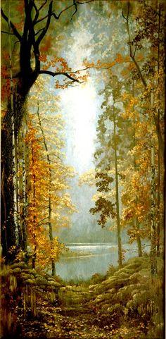 """Konstantin Vasiliev. Forest Fairy Tale, """"Autumn"""" 1973. Russian artist, painting."""