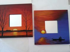 "'Sunset from the water'. Hand painted frame with acrilics. 10.24""x10.24"". Marco pintado a manocon acrílicos. 26x26cm."