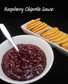 Raspberry Chipotle Sauce. Great as an appetizer poured over cream cheese and served with crackers.