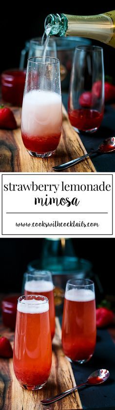 A sparkly strawberry mimosa cocktail that's perfect for any festive occasion with juicy red strawberry flavor and a touch of lemonade.