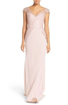 Hayley Paige Occasions Cap Sleeve Lace & Chiffon Trumpet Gown // IN rose blush cashmere available at #Nordstrom