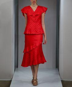 Another great find on #zulily! Red Pintuck Ruffle Linen Skirt - Women & Plus #zulilyfinds
