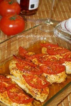 Piept de pui la cuptor cu rosii, Rețetă Petitchef French Toast, Food And Drink, Tasty, Chicken, Cooking, Breakfast, Foods, Diets, Kitchens