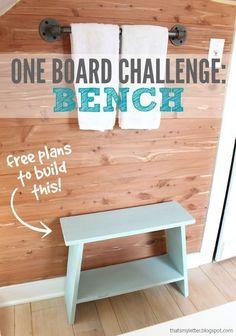 Build this cute bathroom bench out of a single 1x8 board! #oneboardchallenge