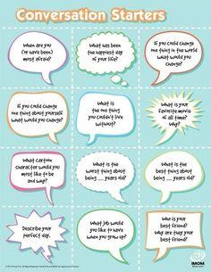 Conversation Starters for ESL classes. Good icebreaker activity too! #teacher #esol