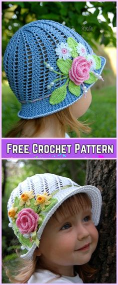 Crochet Girls Panama Spiral Sun Hat Free Pattern