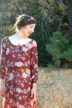 Vintage Autumn Floral Dress// 1970s Boho Dress// by AstralBoutique, $38.00