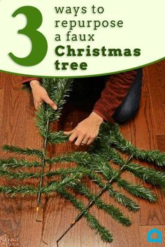 This Christmas porch idea is amazing! Find an old artificial Christmas tree at the thrift store and put it to work with these easy holiday DIY projects! I love the swag and her entranceway looks amazing! This evergreen Christmas decor is lovely. A husband and wife take apart a fake tree for this brilliant porch idea - - This hometalk DIY article has been shared as a blogger affiliate link #ad #WasteFreeChristmas #RepurposedChristmas #DIYChristmasGarland