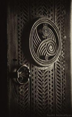 old carved door detail