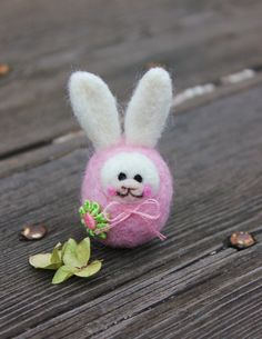 Your place to buy and sell all things handmade Bunny Tail, Snow Queen, Lace Flowers, Felt Animals, Easter Ideas, Pale Pink, Easter Bunny, Needle Felting, Pink Dress