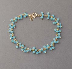 *Freedom Tree* Blue Glass Cats Eye Beads Flower Necklace on Blue Cord //Hand Made