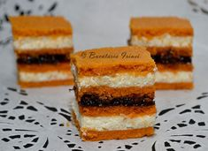 Bucataria Irinei...: Prajitura cu bulion si crema de gris Fun Deserts, Amazing Deserts, Romanian Food, Sweet Treats, Cheesecake, Pie, Cookies, Ethnic Recipes, Desserts