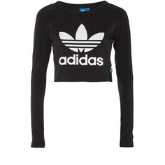 Cropped Long Sleeve T-Shirt by Adidas Originals ($32) ❤ liked on Polyvore featuring tops, t-shirts, black, crop tee, long sleeve crop top, long sleeve cotton tops, cotton t shirts and adidas trefoil tee