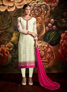 Prime Lace Work Cream Georgette Churidar Designer Suit