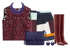 """Color Block skirt"" by nefertiti1373 on Polyvore featuring MSGM, Alberta Ferretti, Vince, Diane Von Furstenberg, Annoushka and Humble Chic"