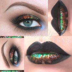 This look uses colors and lip gloss to achieve the oil-slick inspired theme with black lips and long lashes to compliment. See product essentials here.