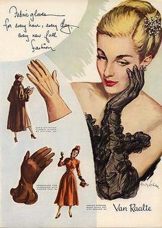 1948 Van Raalte gloves ad  Fabric gloves for every hour, ever day, every new fall fashion...