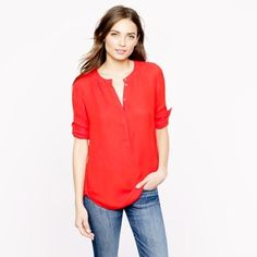 J. Crew Popover Crepe Tunic Fall '15 - Red Medium Excellent condition, worn TWICE J.Crew covered-button crepe Henley tunic. Viscose. Beautiful red color, true-to-size medium! Slightly longer hem in back. The hang tag is detached on one side - it was like that when purchase and can be easily restitched or removed. (Display photo is lavender just to show what it looks like on) J. Crew Tops Tunics