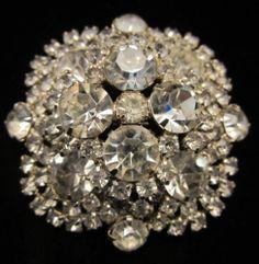 "Stunning Vtg Domed 2-1/2"" Silver Tone Prong Set Rhinestone Statement Brooch A21"